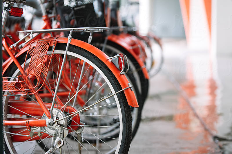 Close up of rear wheels of parked orange bicycles by Lawrence del Mundo for Stocksy United