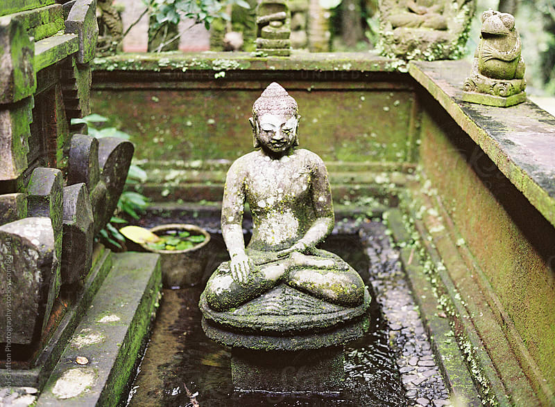 Stone Carving in Ubud Bali Garden  by Vicki Grafton Photography for Stocksy United