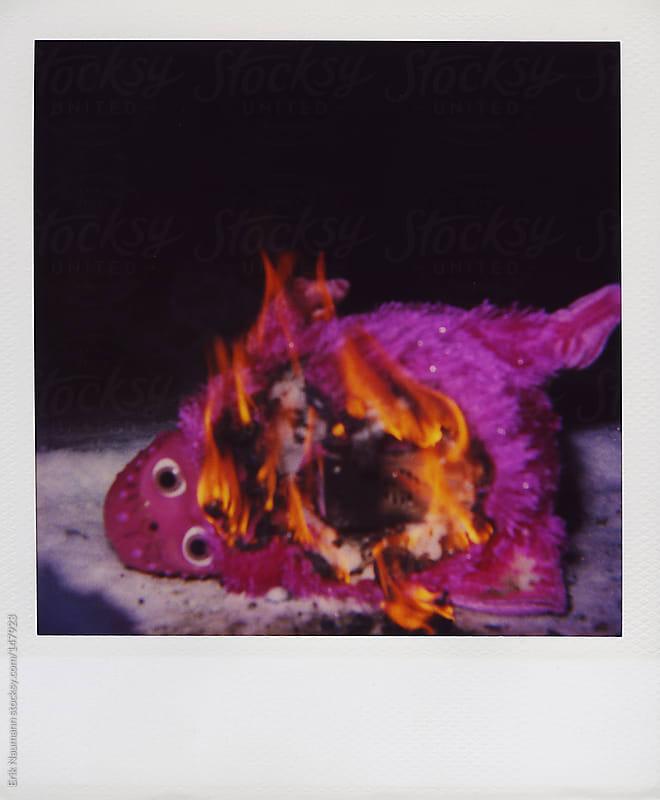 Polaroid of a Furby, burning in snow by Erik Naumann for Stocksy United