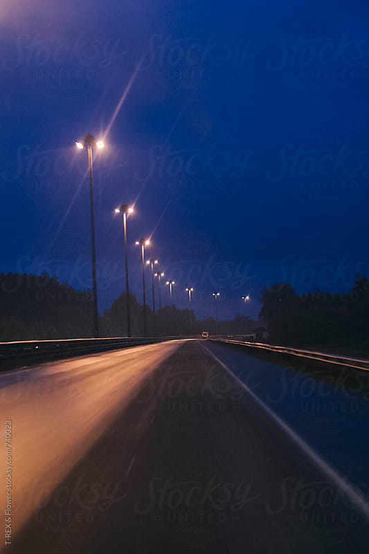 Highway at night by Danil Nevsky for Stocksy United