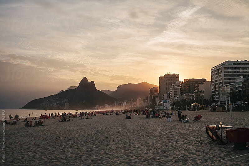 View of the Ipanema beach at sunset by Gabriel Tichy for Stocksy United