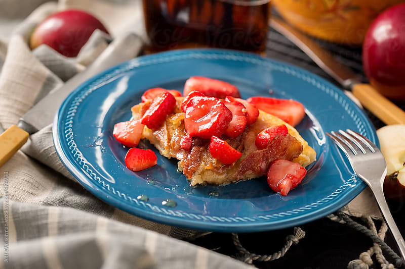 Decadent Baked Apple and Bacon Pancake with Strawberries by Studio Six for Stocksy United