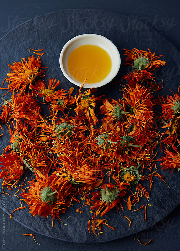 Calendula flowers and oil  by Trinette Reed for Stocksy United