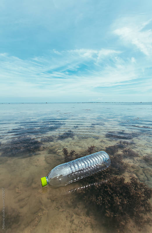 Empty Plastic Bottle Floating in the Ocean by Mosuno for Stocksy United