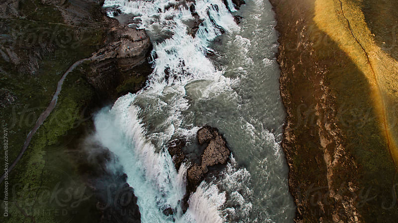 Aerial View of Gullfoss Waterfall in Iceland by Daniel Inskeep for Stocksy United
