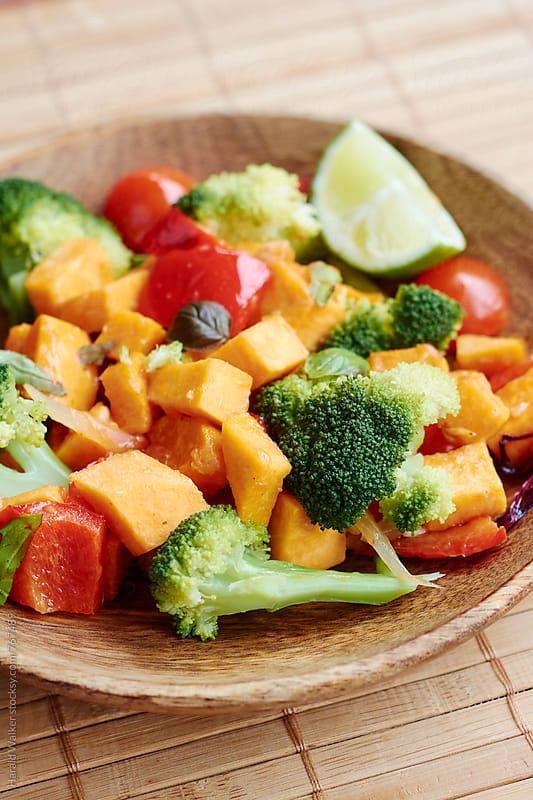 Stir-Fry Broccoli and Sweet Potato by Harald Walker for Stocksy United