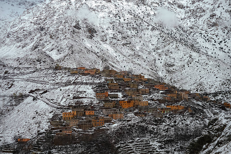 snowy valley of imlil, grand atlas mountains, morocco by Paul Schlemmer for Stocksy United