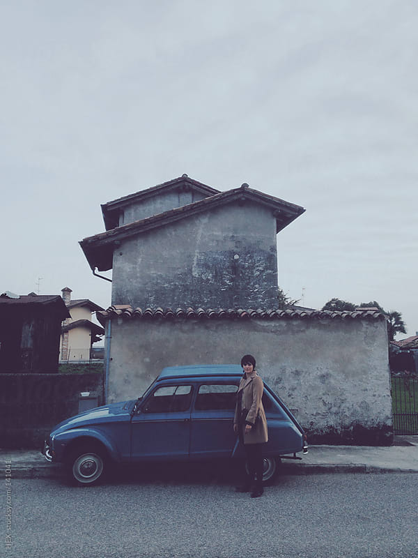 Woman In Front Of Her Vintage Car by HEX. for Stocksy United