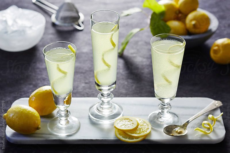 Lemon Cocktail with vodka, lemon, and agave by Trinette Reed for Stocksy United