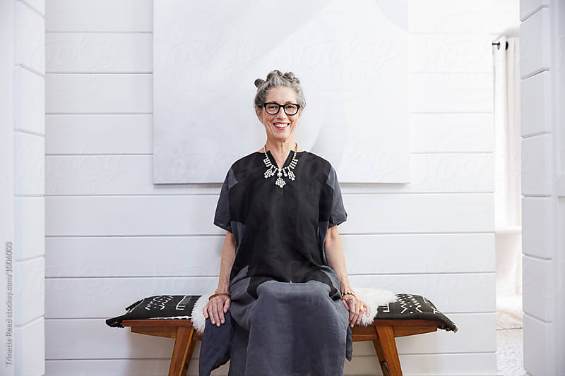 Portrait of stylish senior woman with grey hair by Trinette Reed for Stocksy United