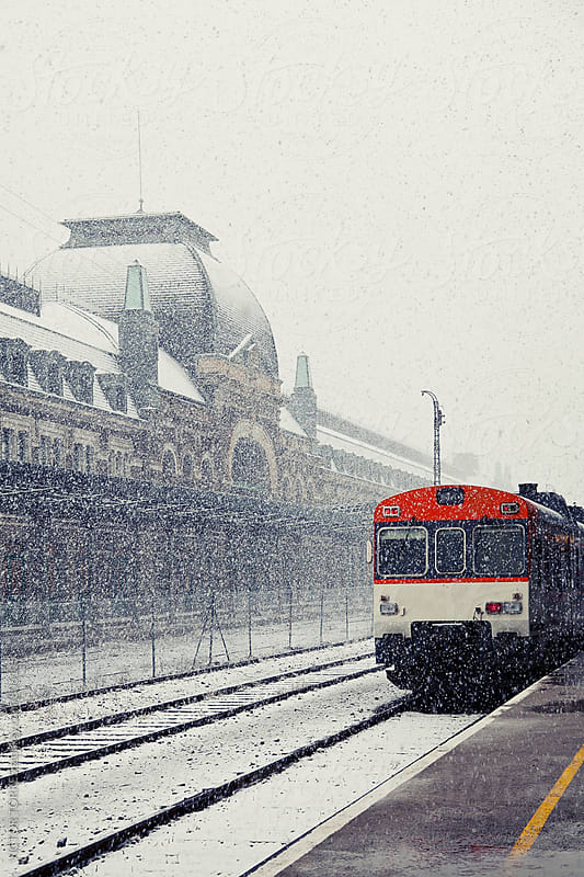 Snowing in Canfranc Railway Station by Victor Torres for Stocksy United