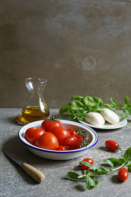 Ingredients for making Caprese salad. by Darren Muir for Stocksy United