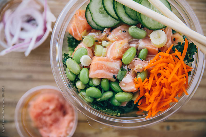 Salmon Poke Bowl by Jayme Burrows for Stocksy United