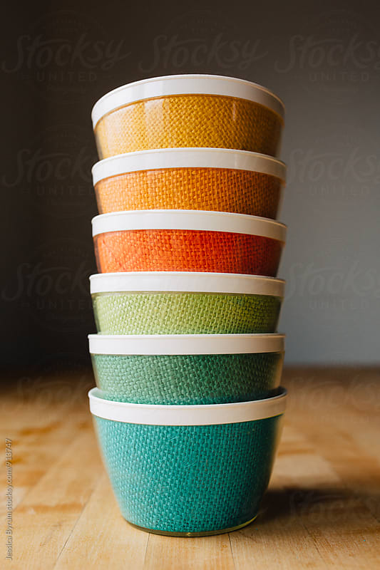 Colorful Burlap Bowls by Jessica Byrum for Stocksy United