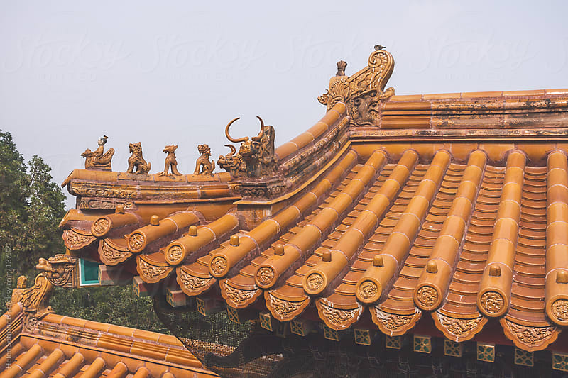 Traditional Roof in Beijing, Traditional Architecture by Helen Sotiriadis for Stocksy United
