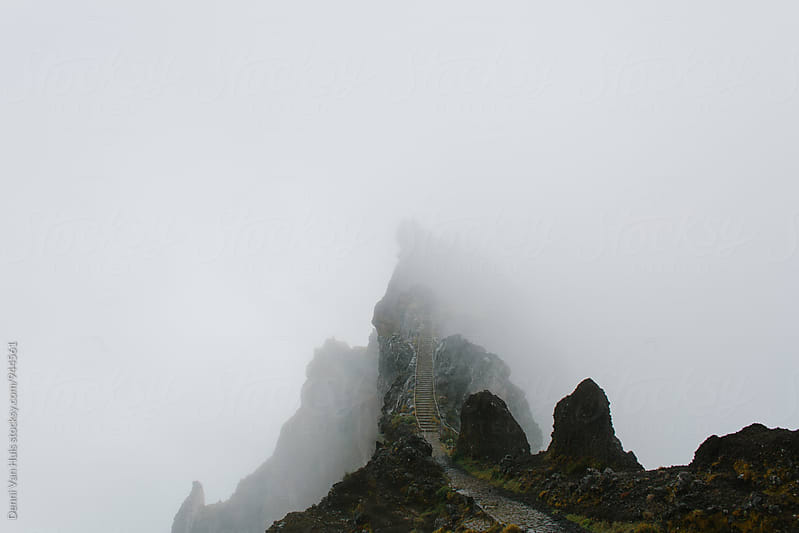 Stairs on mountain top up in the clouds by Denni Van Huis for Stocksy United
