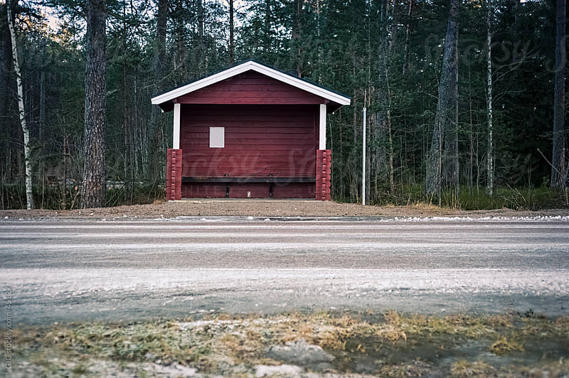 Bus shelter on the road, Sweden by Simone Becchetti for Stocksy United