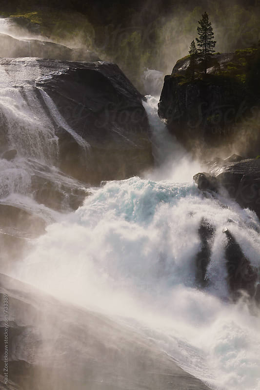 Sunlit waterfall by Kaat Zoetekouw for Stocksy United