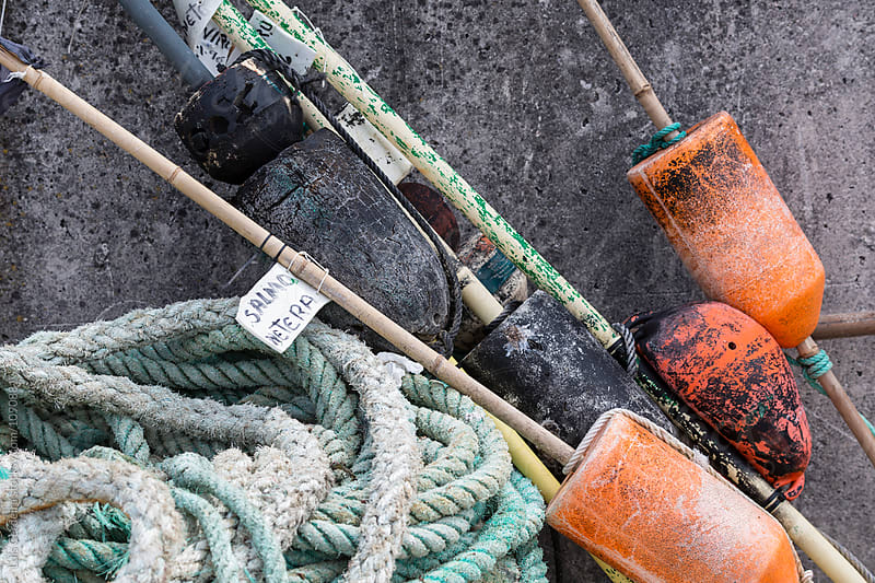 Dirty fishing buoys by Luis Cerdeira for Stocksy United