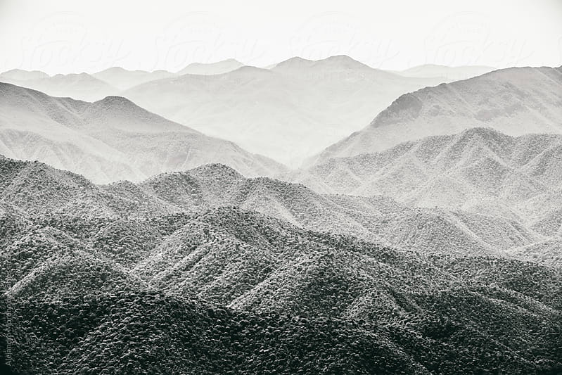Mountain cordillera landscape in black and white by Alejandro Moreno de Carlos for Stocksy United