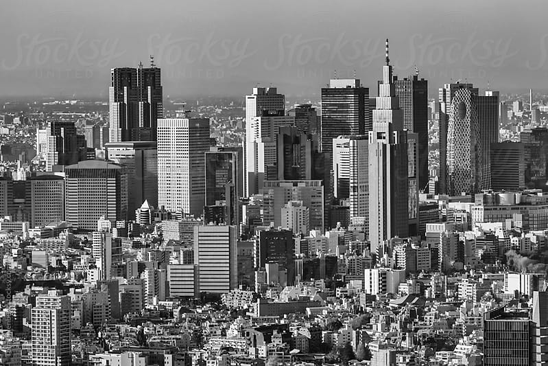 Black and White Panorama of Tokyo with Skyscrapers in Shinjuku Ward (Japan) by Tom Uhlenberg for Stocksy United