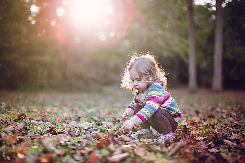 A toddler playing with leaves in a park by Jakob for Stocksy United