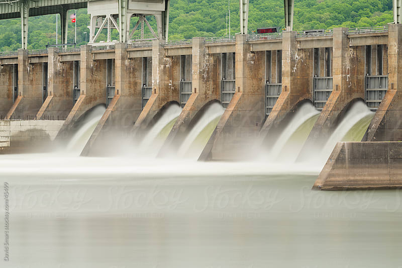 Water rushing through spillway gates of Chickamauga Dam on Tennessee River by David Smart for Stocksy United