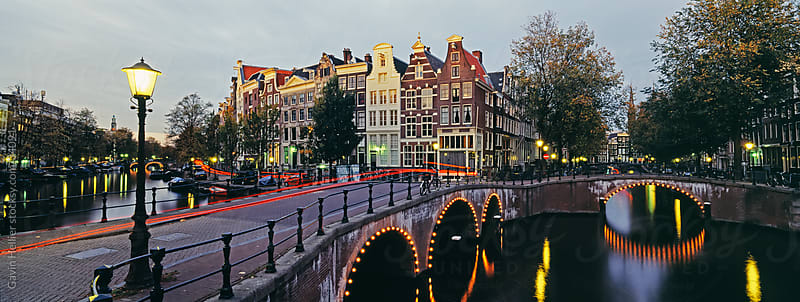 Keizersgracht at night, Amsterdam, North Holland, Netherlands, Europe by Gavin Hellier for Stocksy United