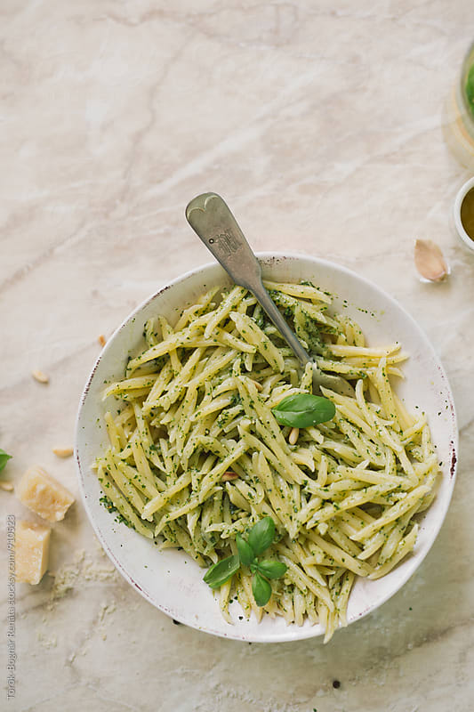 Pasta with pesto by Török-Bognár Renáta for Stocksy United