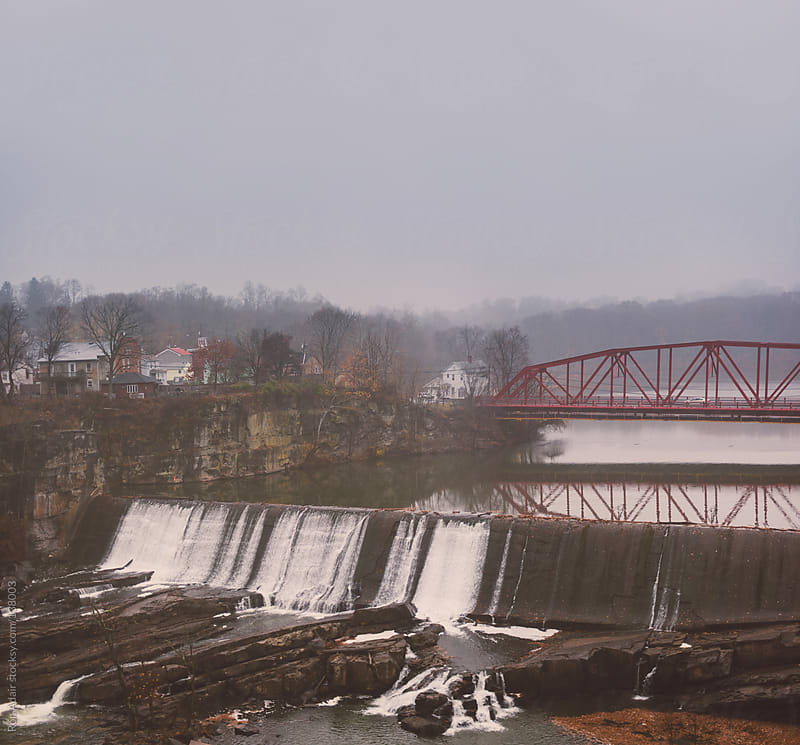 Foggy View of Hill Street Bridge and Cantine Dam Falls by Ron Adair for Stocksy United