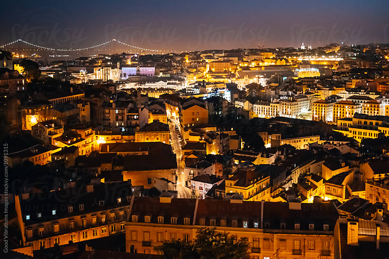 Lisbon at Night, Portugal by Good Vibrations Images for Stocksy United