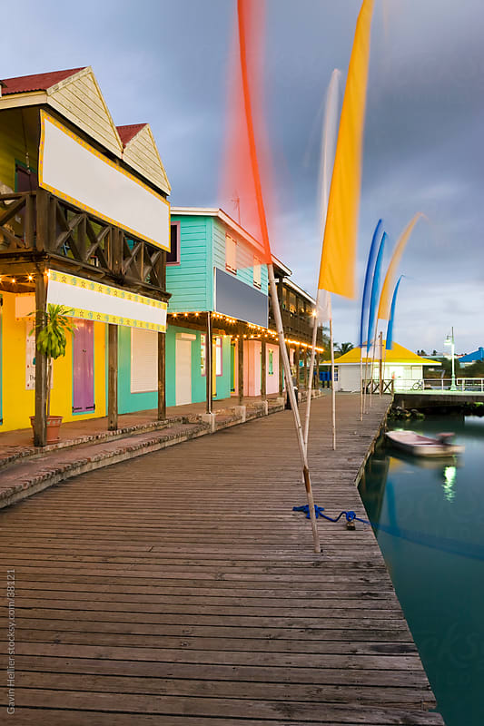 West Indies, Caribbean, Lesser Antilles, Leeward Islands, Antigua and Barbuda, Antigua, Heritage Quay shopping district in St. John's by Gavin Hellier for Stocksy United
