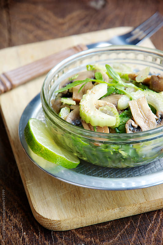 Celery Salad with Mushrooms by Harald Walker for Stocksy United