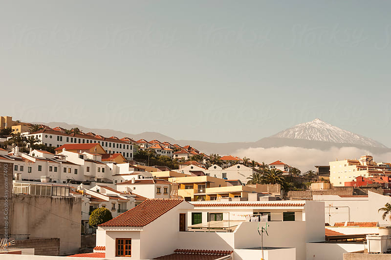 Village in Tenerife and volcano Teide by Urs Siedentop & Co for Stocksy United