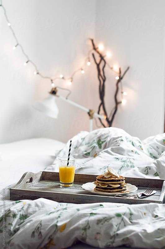 Homemade Pancakes with Banana by Alie Lengyelova for Stocksy United