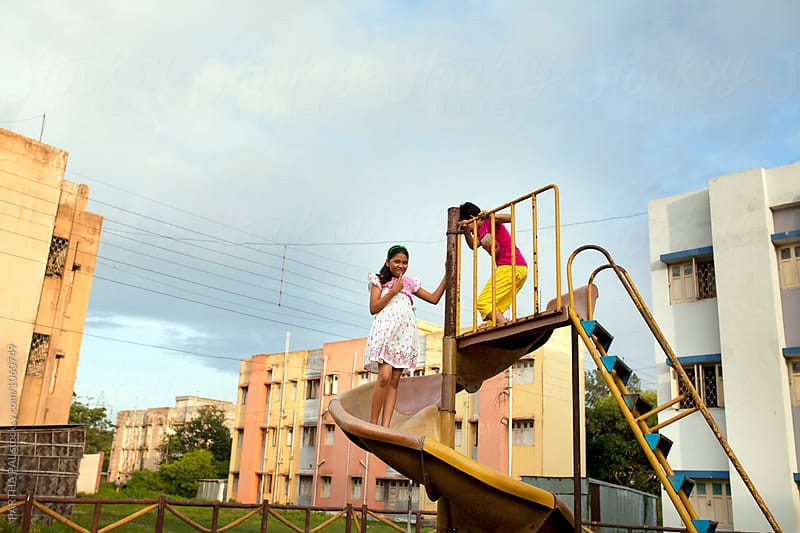 Teenagers playing in a Park by PARTHA PAL for Stocksy United