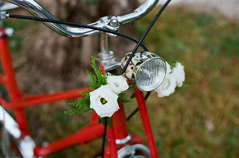 Bicycle decorated with flowers by Lyuba Burakova for Stocksy United