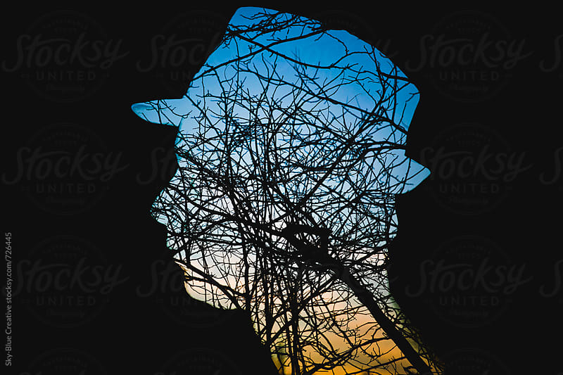 Silhouette of a man and trees at sunset by Luca Pierro for Stocksy United