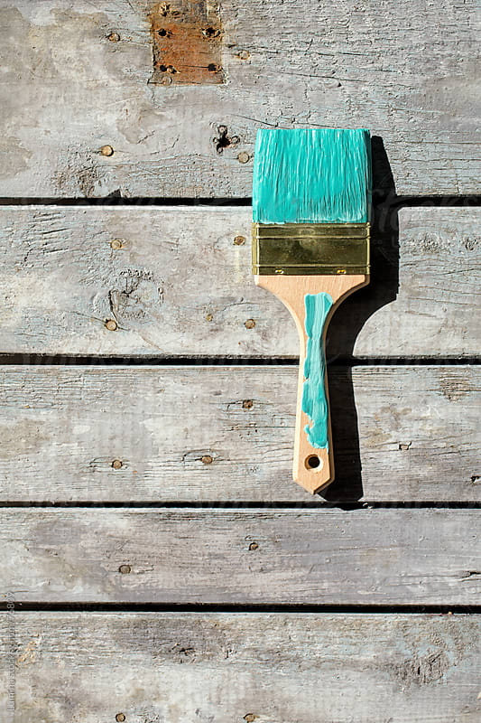 Paintbrush on a Wooden Board by Lumina for Stocksy United