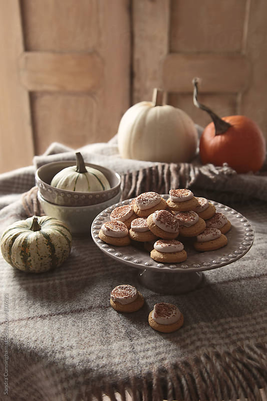 Little pumpkins cookies on tray with pumpkins and gourds by Sandra Cunningham for Stocksy United