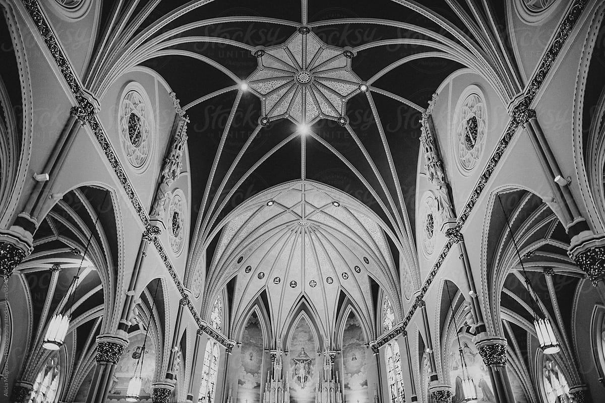 Greyscale Interior Of Ornate Catholic Church Sanctuary By Alicia Magnuson Photography Stocksy United