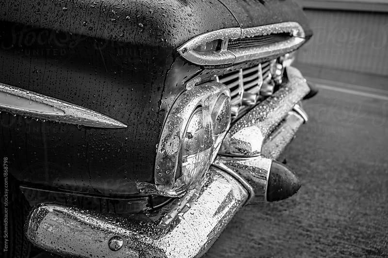Retro Car on Rainy Street by Terry Schmidbauer for Stocksy United