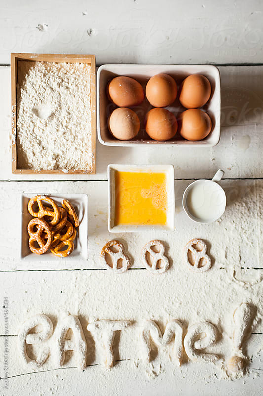 Well organized ingredients for making pretzels. by Audrey Shtecinjo for Stocksy United