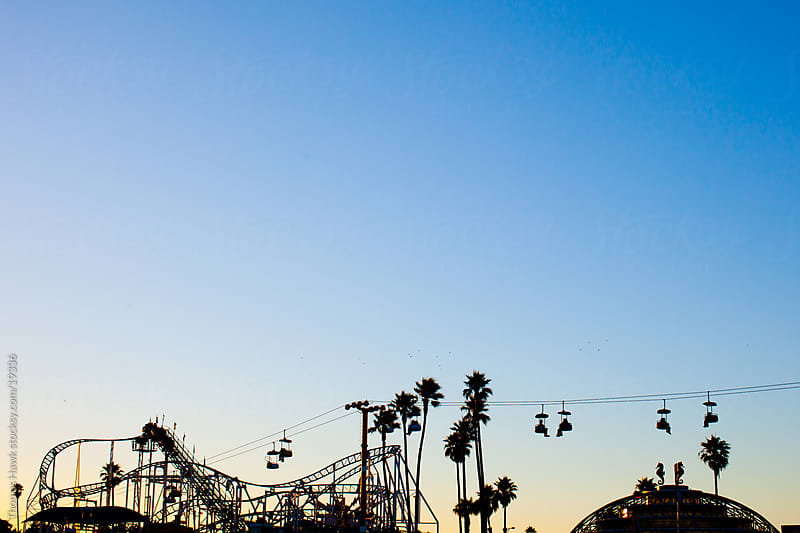 skyway and rollercoaster at Santa Cruz Beach by Thomas Hawk for Stocksy United