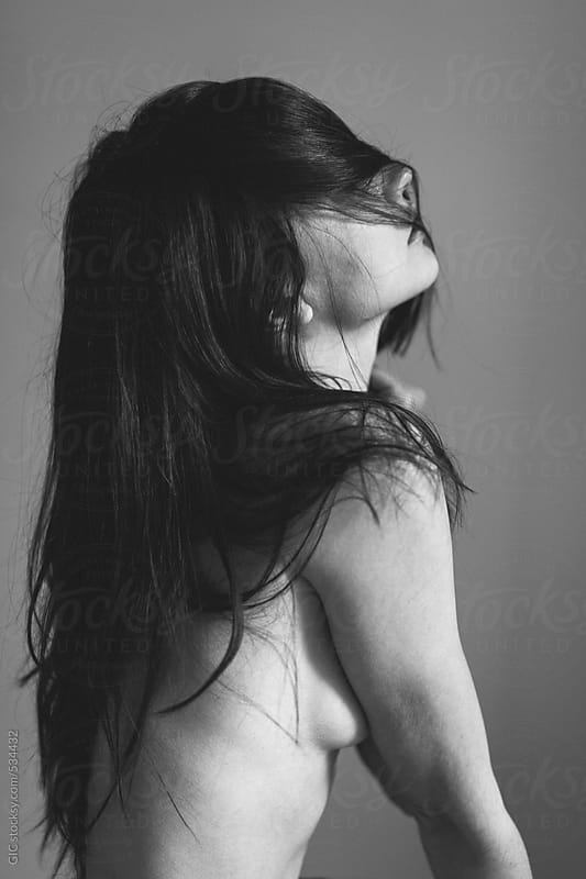Young naked woman black and white portrait  by GIC for Stocksy United