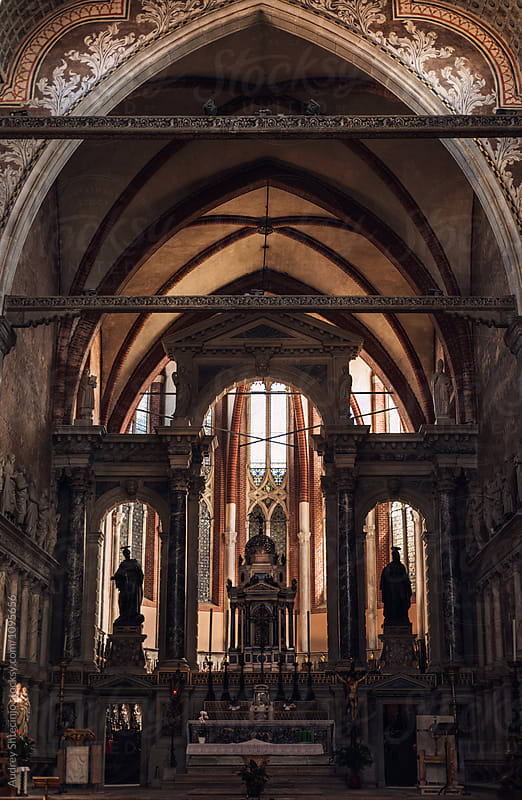 Church of San Stefano gothic style altar with high apses.Venice /Italy