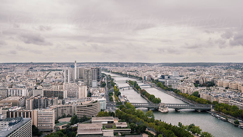 Seine River from the air by ACALU Studio for Stocksy United