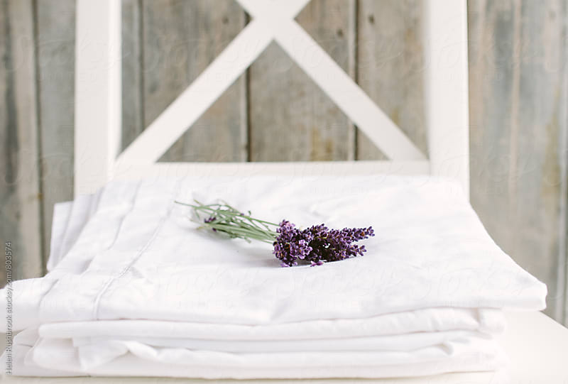 Lavender on white household linen by Helen Rushbrook for Stocksy United