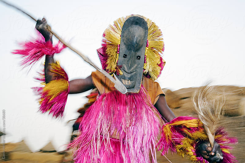 Africa, West Africa, Mali, Dogon Country, Bandiagara escarpment, Masked Ceremonial Dogon Dancer near Sangha by Gavin Hellier for Stocksy United