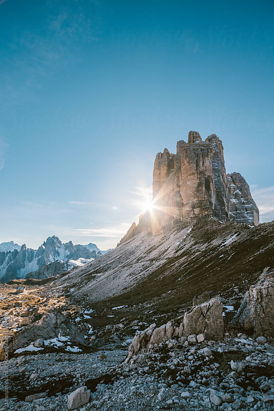 sunset at the famous three pinnacles in the italian alps  by Leander Nardin for Stocksy United